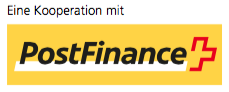 Logo PostFinance - in Kooperation - DigiCollect, Sarnen, Schweiz
